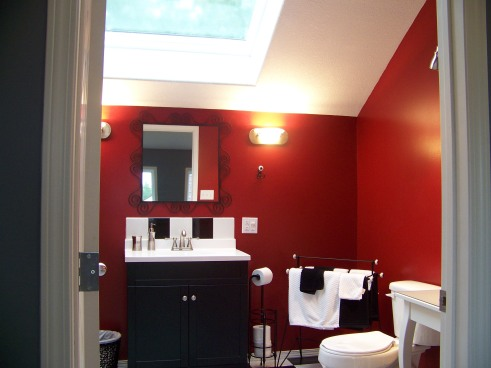 Bathroom under skylight